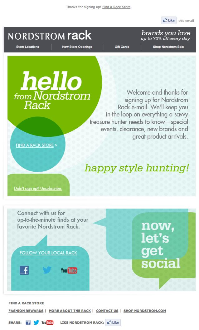 Nordstrom Rack welcome email 2013