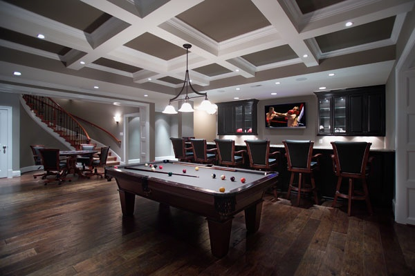 Basement Sports Bar Project, Molded ceiling treatment to disguise ...