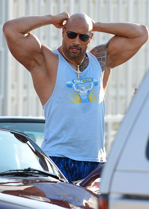 Dwayne Johnson, got huuuuge for body builder movie role. Adorbs anyway.
