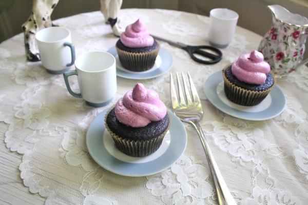 Vegan Chocolate Cherry Jam Filled Cupcakes