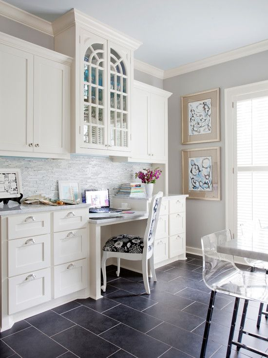 Andrea Brooks Interiors - kitchens - Sherwin Williams - Knitting Needles - CB2 Vapor Barstool, kitchen workstation, kitchen desk, built-in d...