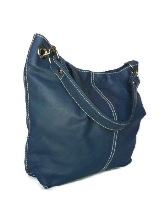 Genuine violet blue leather medium hobo purse bag handbag handmade ...