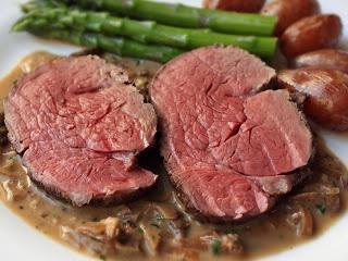 Roast Tenderloin of Beef with Porcini-Shallot-Tarragon Pan Sauce