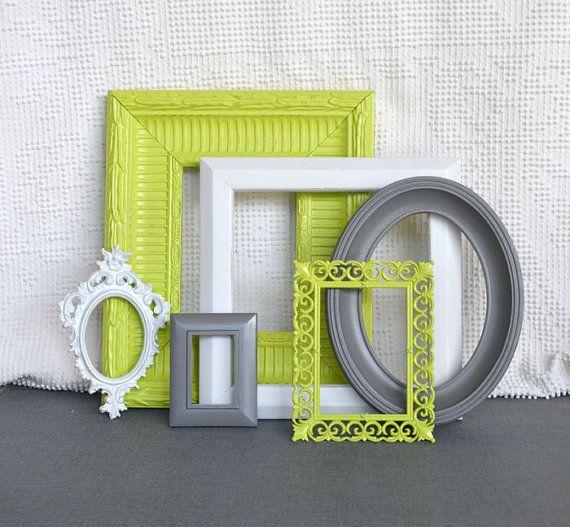 lime green grey gray white ornate frames set of 6 bathroom accessories lime green - Bathroom Accessories Lime Green