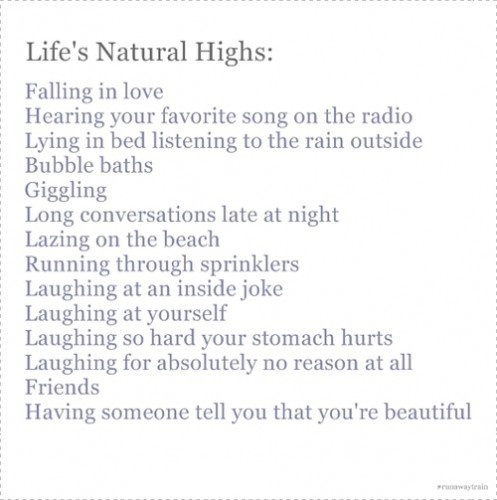 I'm on a natural high...