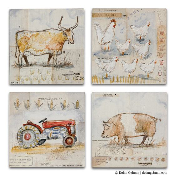 French Country Kitchen Wall Art Set Of 4, Cow, Chicken