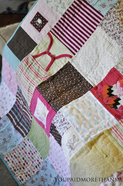 old meaningful baby's clothes, made into a quilt!  a GREAT gift for a mom!  by: Barbara Malm via Etsy