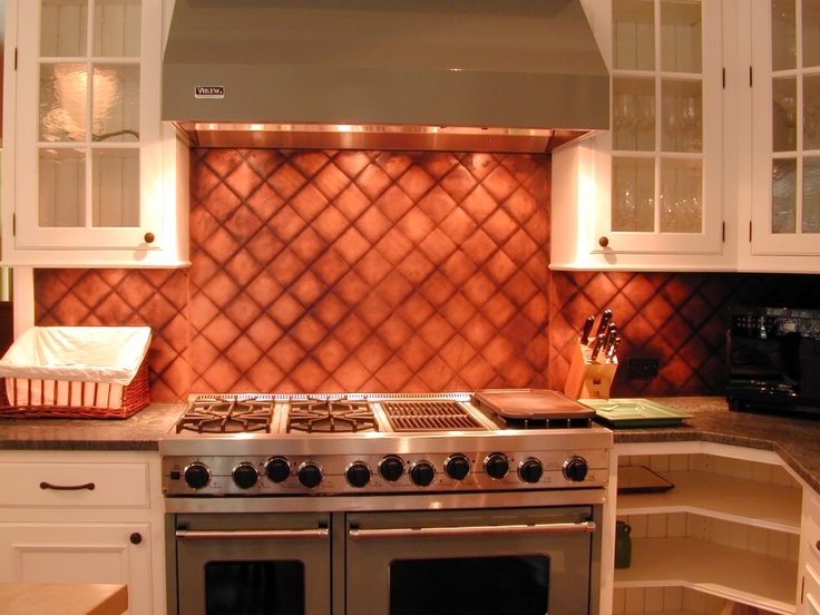 copper backsplash brooks custom quileted copper