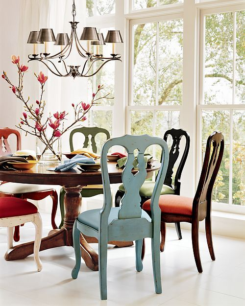 Love the different color chairs from pottery barn for a kitchen table