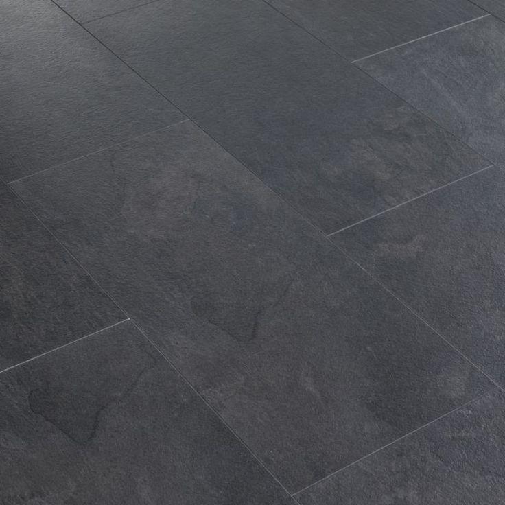 Black slate tile flooring