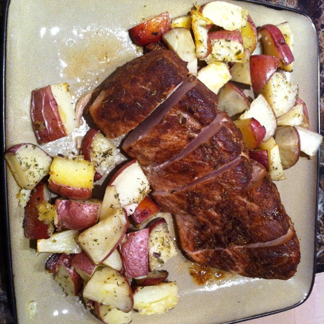 Spice rubbed pork tenderloin and roasted potatoes...yum!