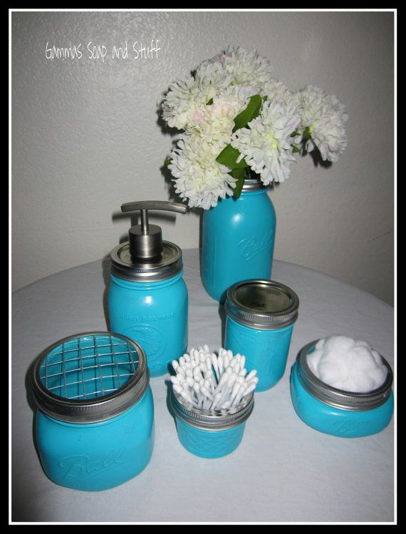 Mason ball jar bathroom accessories for Bathroom decor mason jars