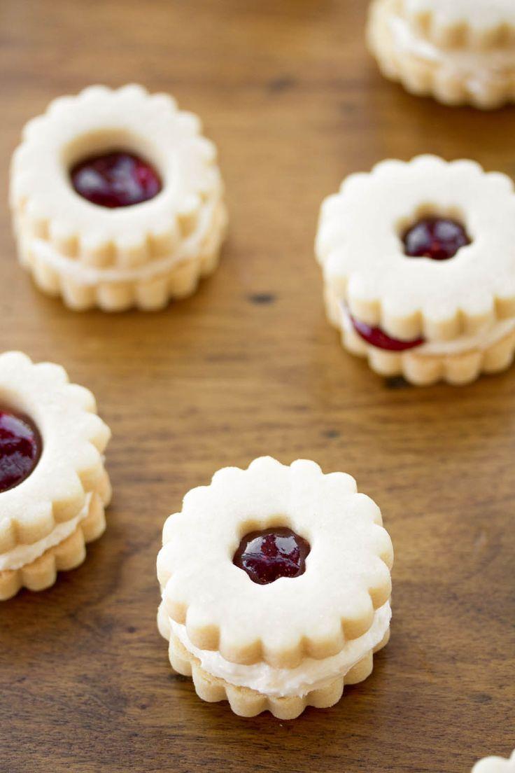 Raspberry Cream Shortbread Sandwich Cookies