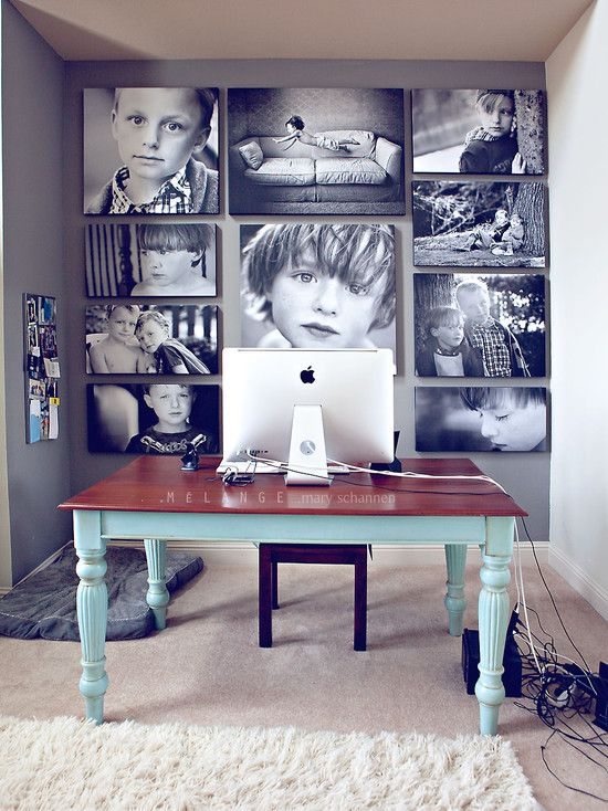 Home office idea. Don't love the colors, but like the basic desk & monitor setup and large photo wall behind.