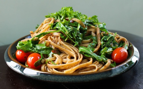 Whole Wheat Pasta with Olive Tapenade, Arugula, and Cherry Tomatoes ...