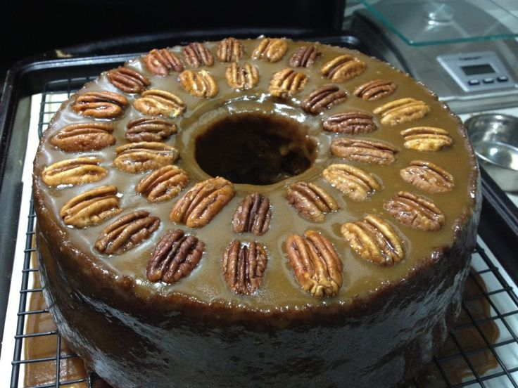 Pumpkin Pecan Cake with Bourbon Brown Sugar Glaze