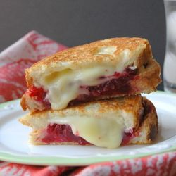 ... grilled cheese with creamy brie and fresh, whole cranberry sauce