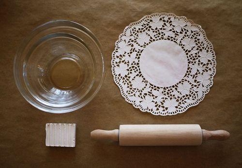 Make a doily ceramic dish