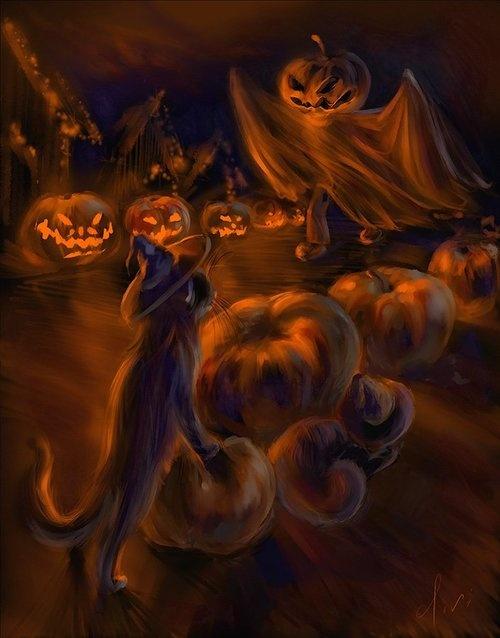 spooky painting | Halloween and Autumn | Pinterest