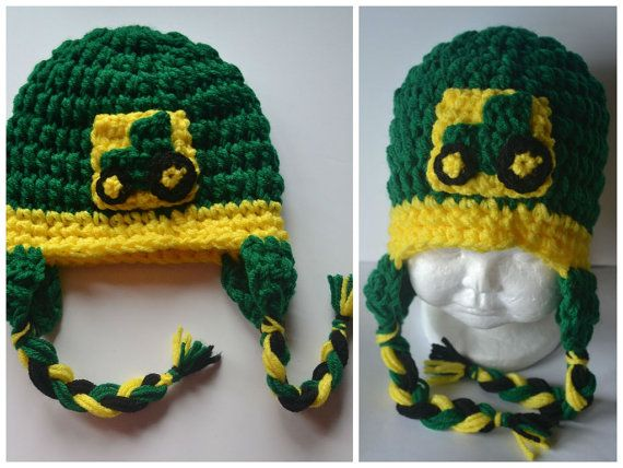Deere Infant Hat Crochet Pattern : Size 6mo-10yrs John Deere baby crochet hat, child crochet ...