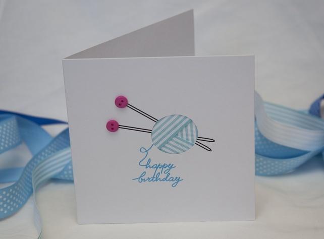 Knitting Birthday Card : Birthday knitting card for a knitter