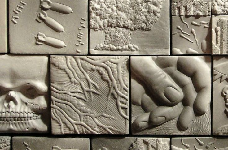 Carving ideas relief tiles ceramic lamps pinterest for Clay tile mural