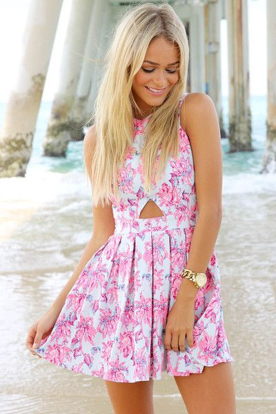 Floral Heritage Cutout Skater Dress