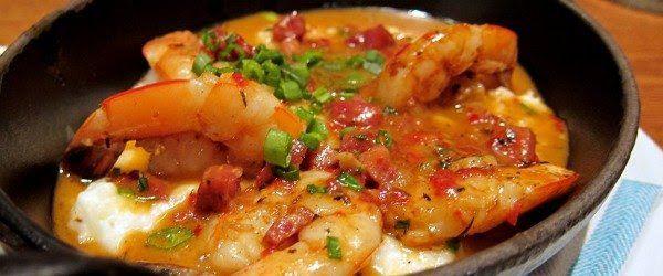 Louisiana shrimp, roasted jalapeño cheese grits, andouille & green ...