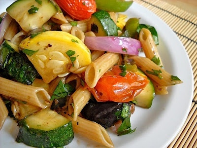 Grilled Veggie Pasta Salad grape tomatoes garlic zucchini yellow ...