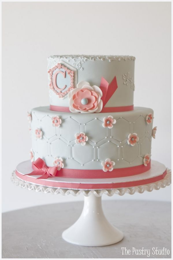 coral and baby blue cake