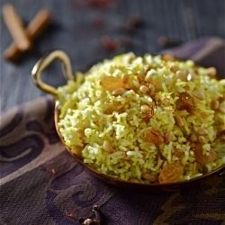 Saffron Rice with Golden Raisins and Pine Nuts for the release of An ...