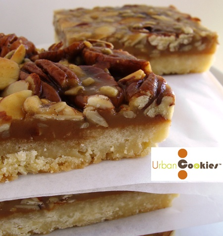 Salted Caramel Nut Bar- shortbread topped with salted caramel, pecans ...