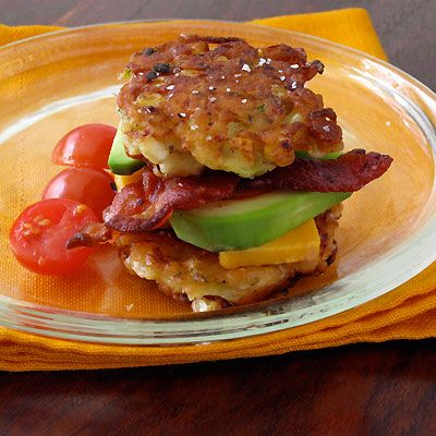 Corn & Zucchini Fritter Stackers with Bacon & Avocado