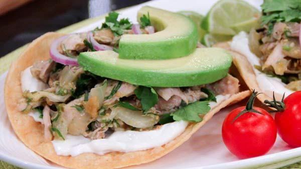 Braised Chicken and Tomatillo Tostadas | Recipes | Pinterest