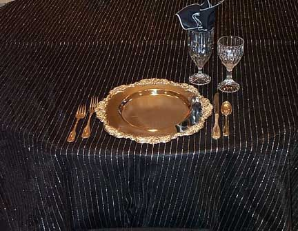 Tablecloth Black amp Silver Pinstripe Net Wedding Ideas Pinterest