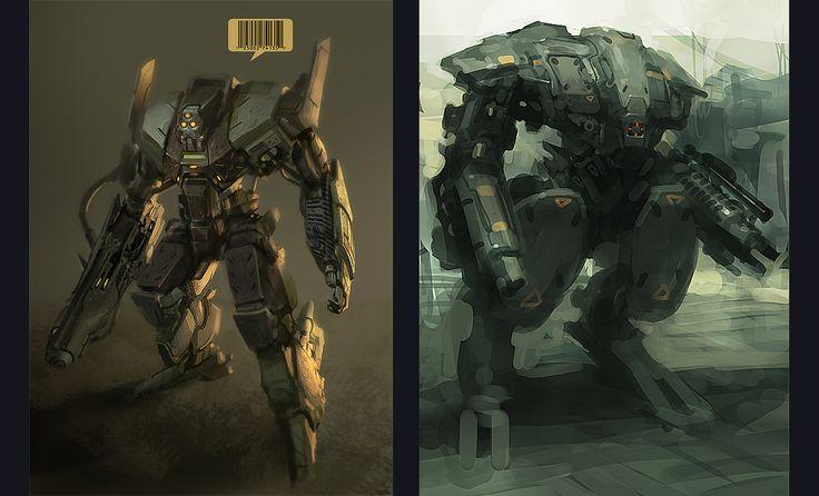 concept robots: Robot concept art by Daryl Mandryk