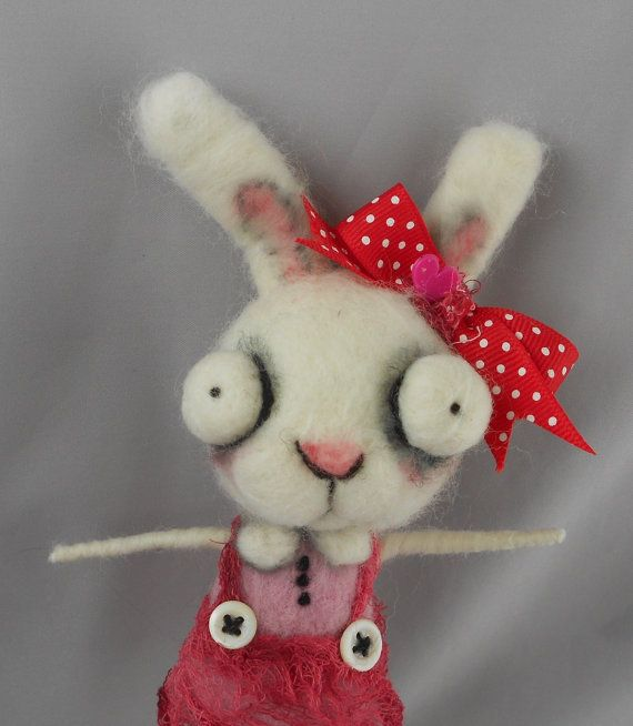 white  bunny  rabbit Ooak art doll by papermoongallery on Etsy, $59.00