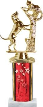 Fun Dog show trophy. This red column trophy with dog climbing the tree is truly fun way to recognize dogs. http://www.crownawards.com/StoreFront/TR1500.ALL.Trophies.Red_Column_Trophy.prod