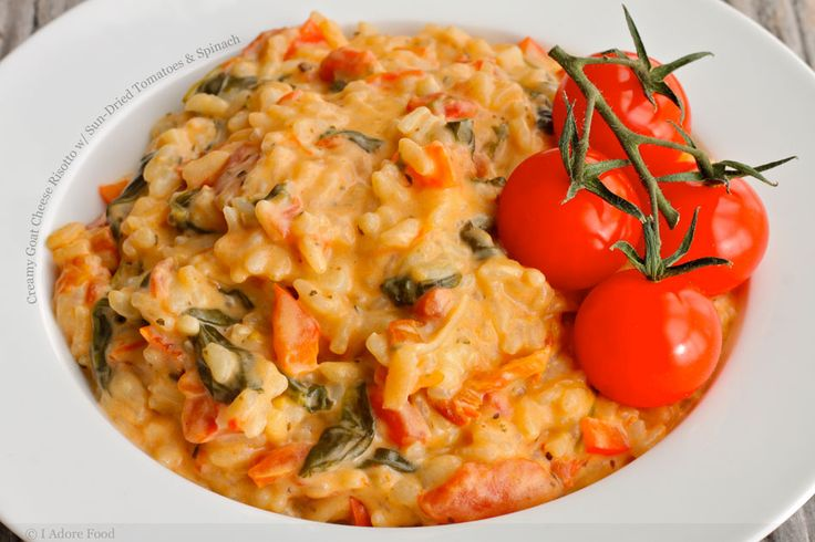 ... ! creamy goat cheese risotto with sun-dried tomatoes and spinach