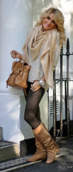 Gorgeous Skinies & Long Shoes with Over Sized Scarf