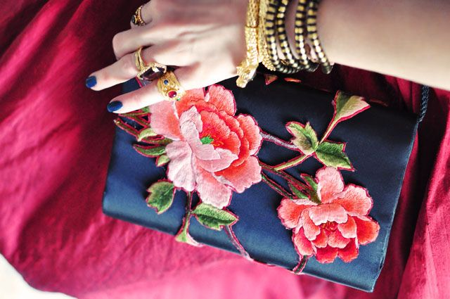 rose embroidered evening bag | Shoes and bags | Pinterest