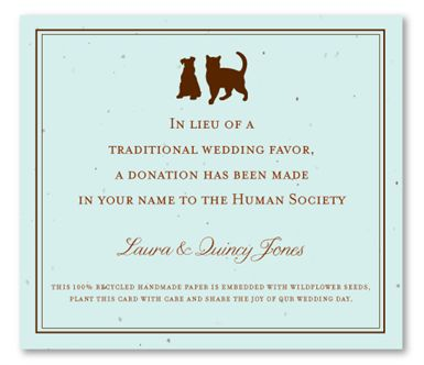 Plantable Wedding Favors ~ Cat & Dog (donation)