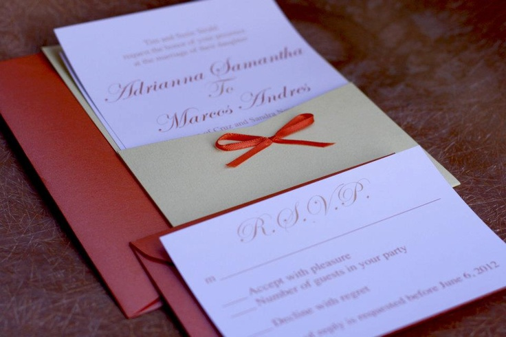 Orange Wedding Invitation with beautiful invitation layout