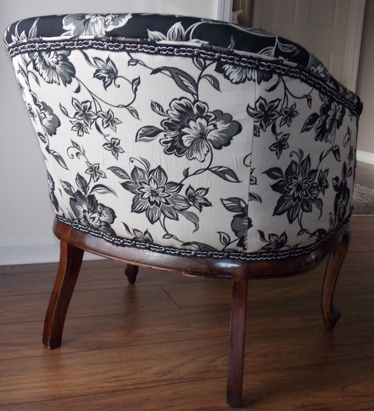 Back of reupholstered vintage barrel chair for sale 400 obo for Reupholstered chairs for sale