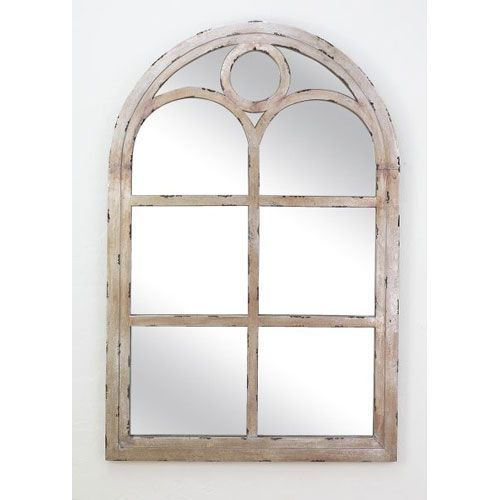 Distressed Silver Wood Arch Top Window Pane Mirror Dr