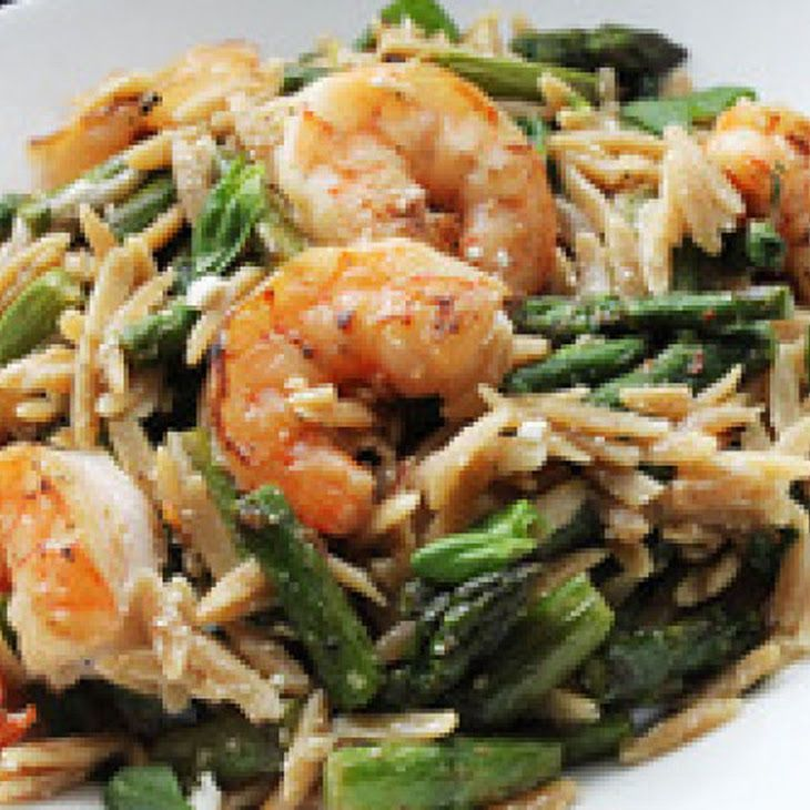 Skillet Shrimp with Orzo, Feta and Asparagus Recipe