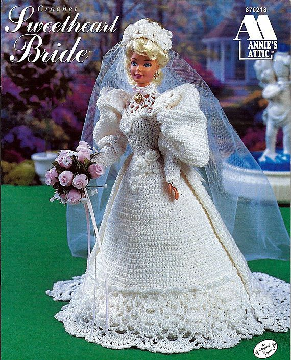 Annies Attic Crochet Patterns : Sweetheart bride Fashion Doll Crochet Pattern Annies Attic 870218.