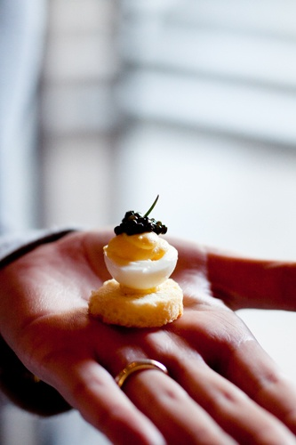 ... look at this dressed up little guy - Deviled Quail Eggs with Caviar