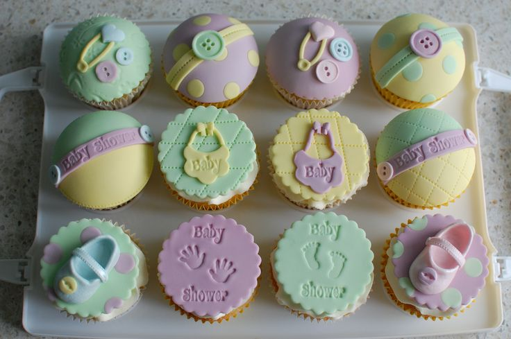 Unisex baby shower cupcakes