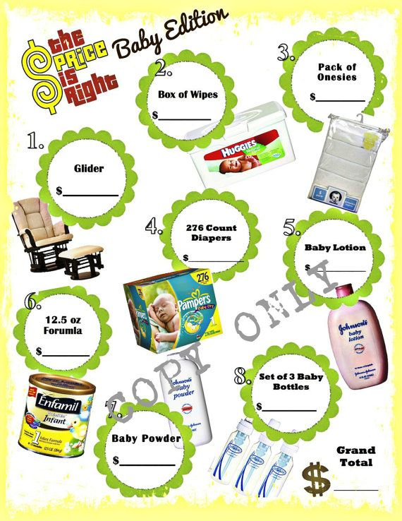 price is right baby shower game instant download